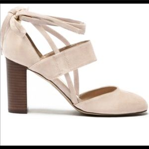 Sole Society nude suede pumps